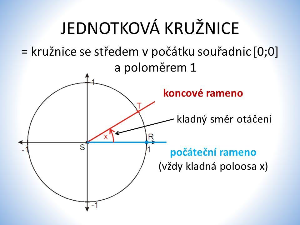 JEDNOTKOVÁ KRUŽNICE = kružnice se středem v počátku souřadnic [0;0] a poloměrem 1. koncové rameno.
